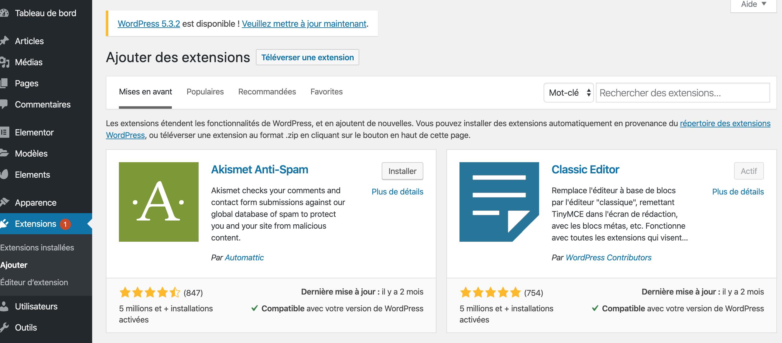 Recherche de plugins WordPress