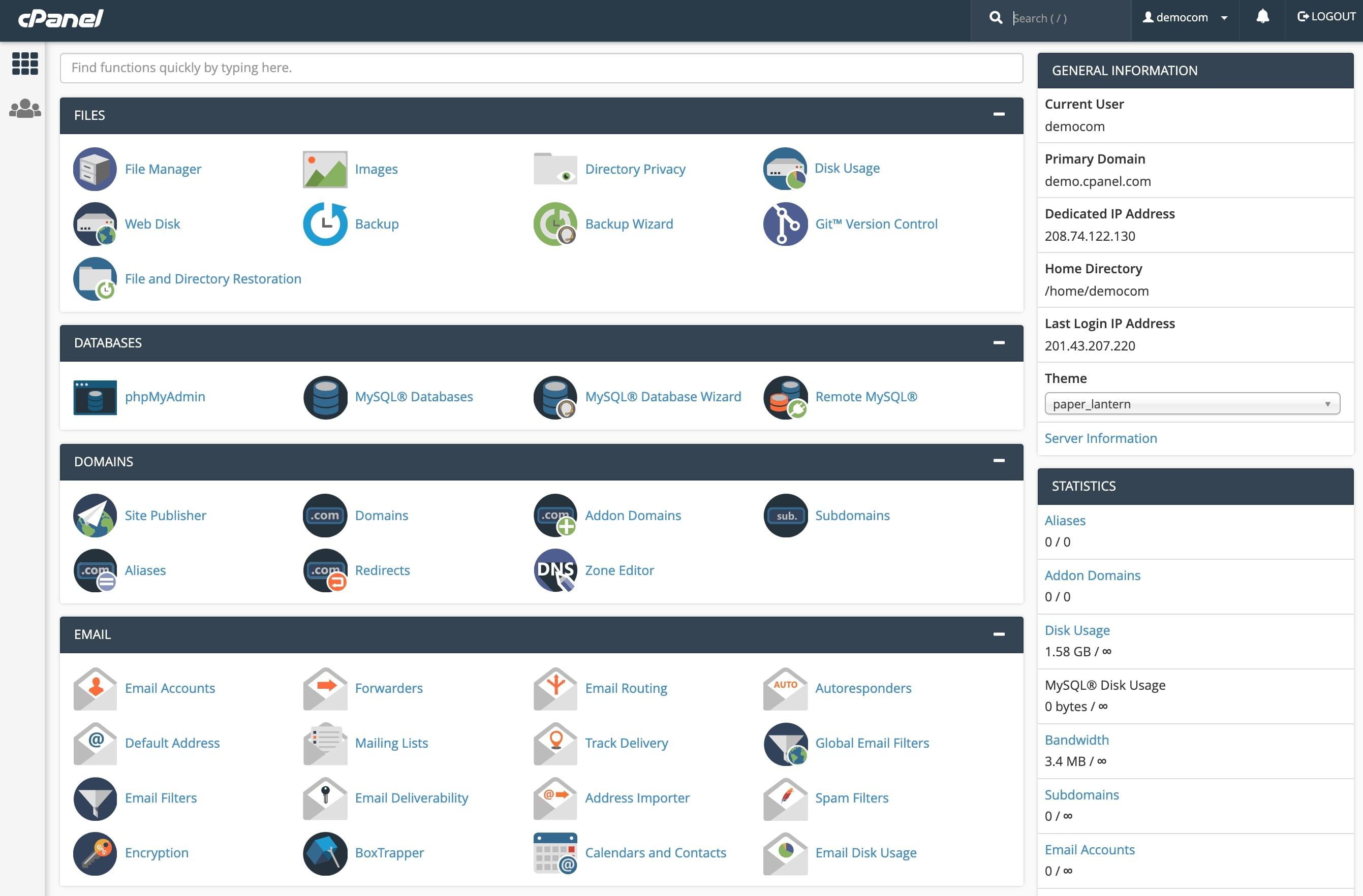 cpanel WordPress logiciel de gestion d'hébergement web