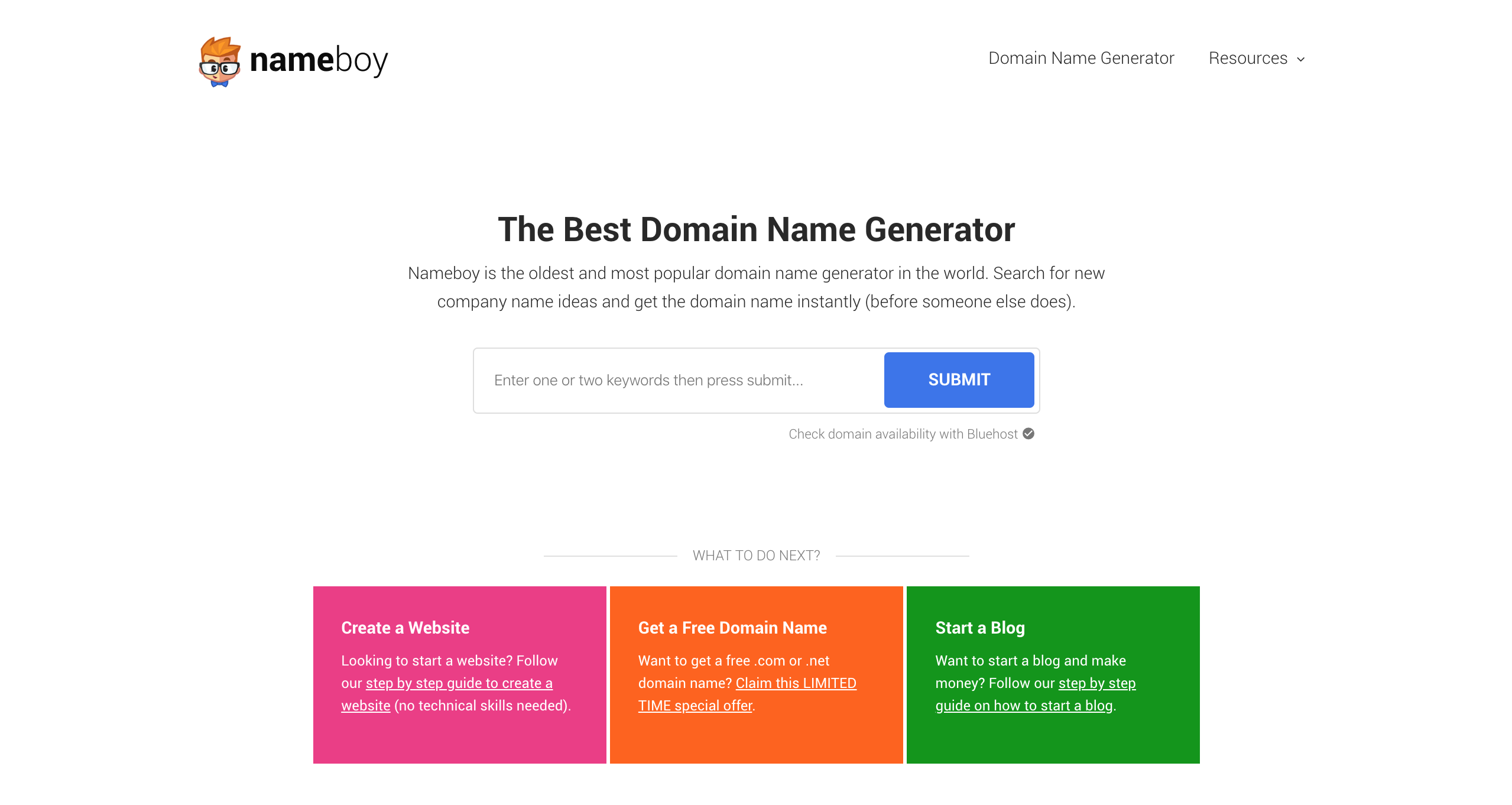 Générateur de noms de domaine et de blogs Nameboy Best