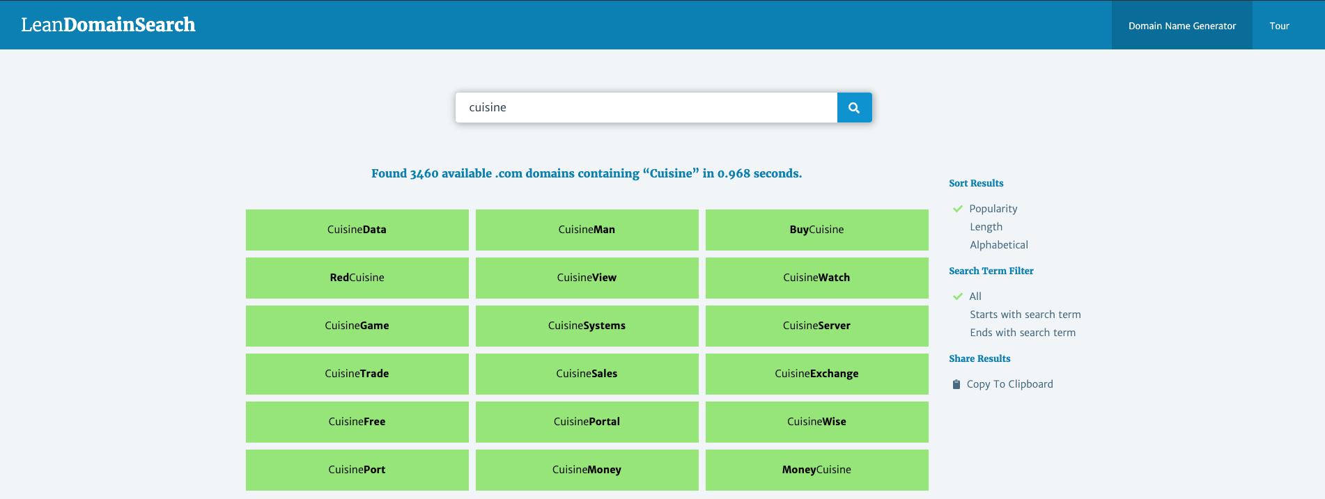 Lean Domain Search - Résultats de recherche du générateur de nom de blog