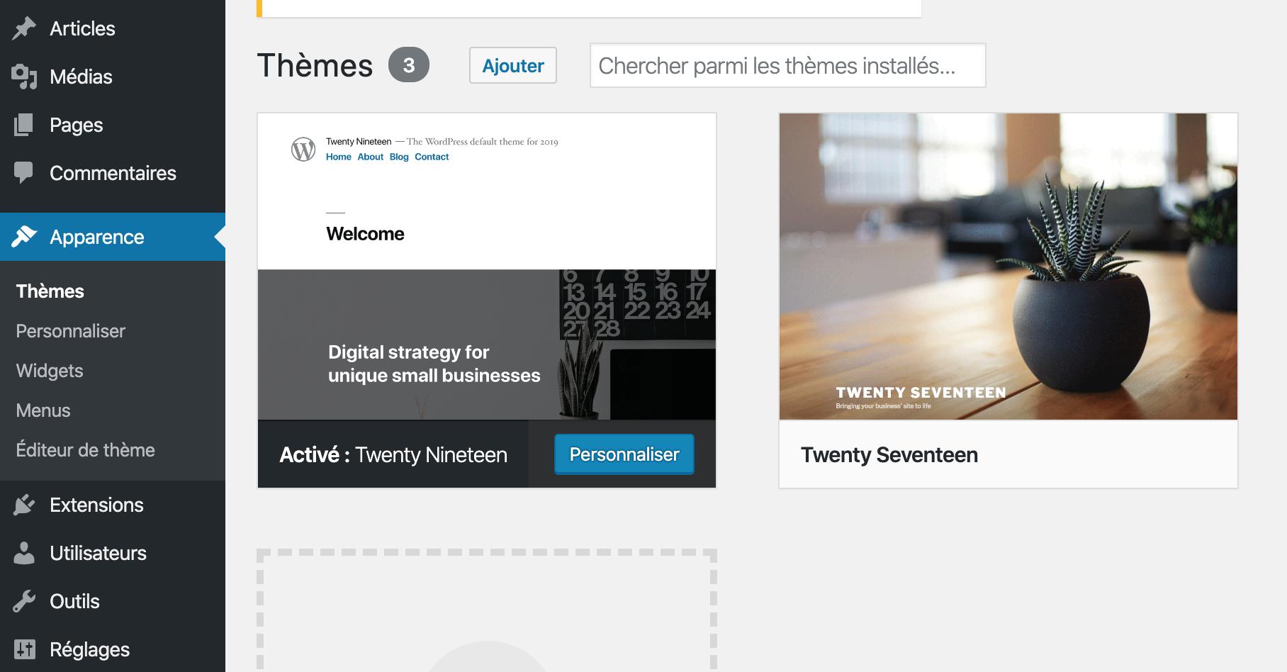 Ajouter un thème WordPress