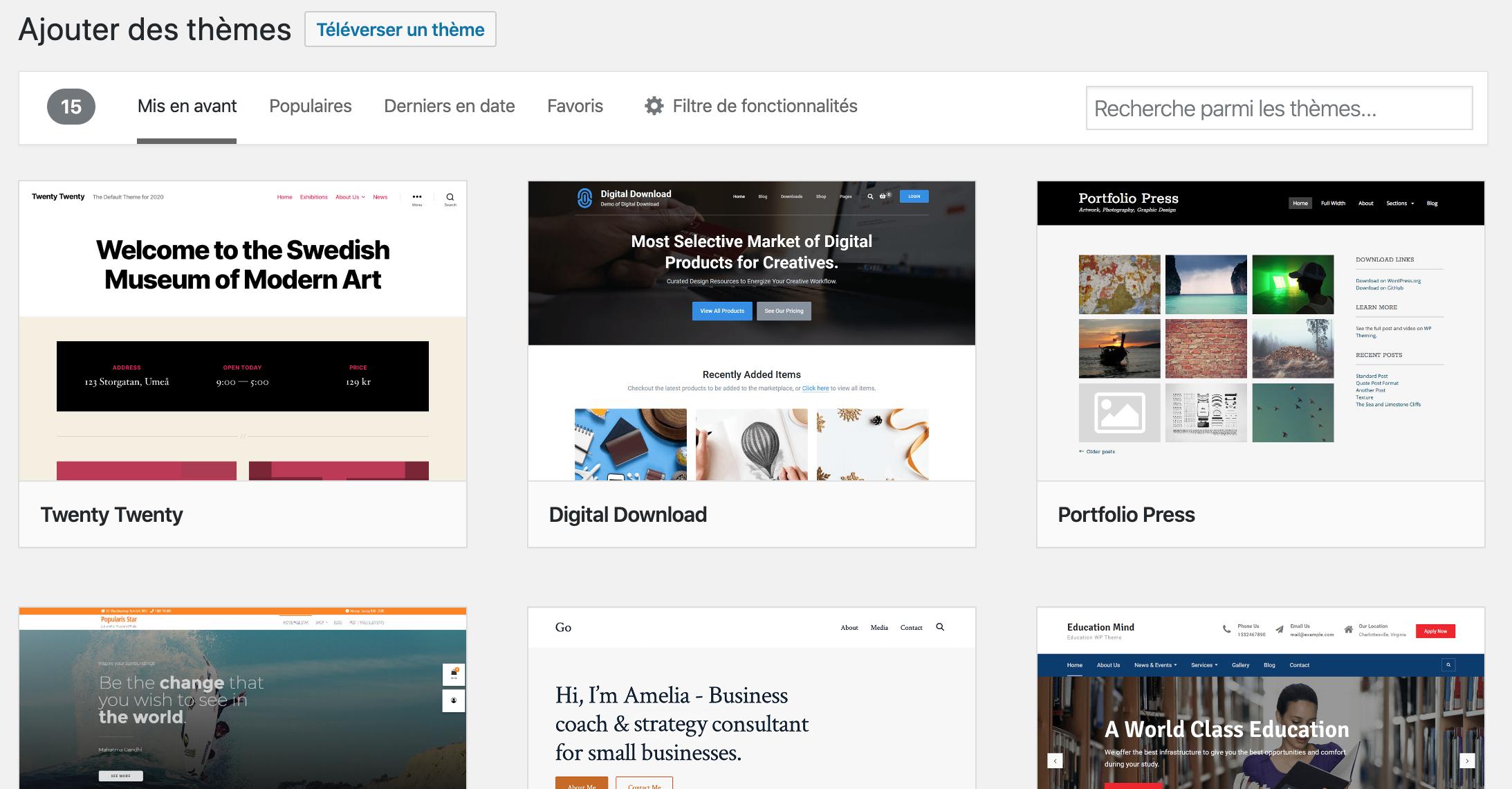 Ajouter une nouvelle barre d'outils de thème et rechercher