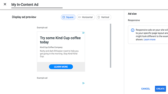 créer une annonce adsense