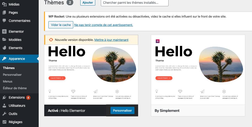 Apparence Theme WordPress