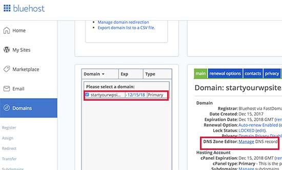Paramètre nom de domaine Bluehost